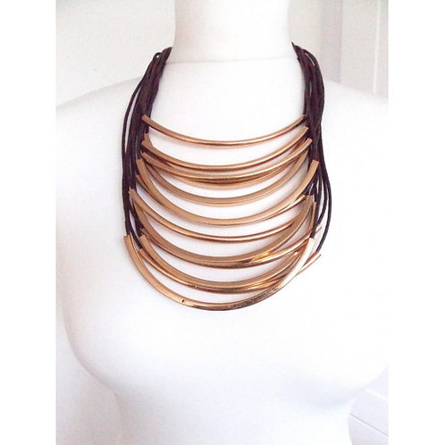 Gold bar Tribal style necklace