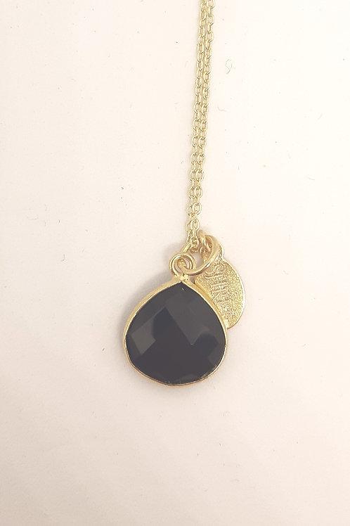 Pear shaped Black Spinel pendant