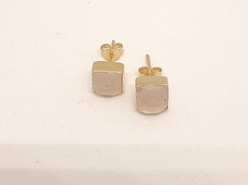 Rose Quartz Square Earrings