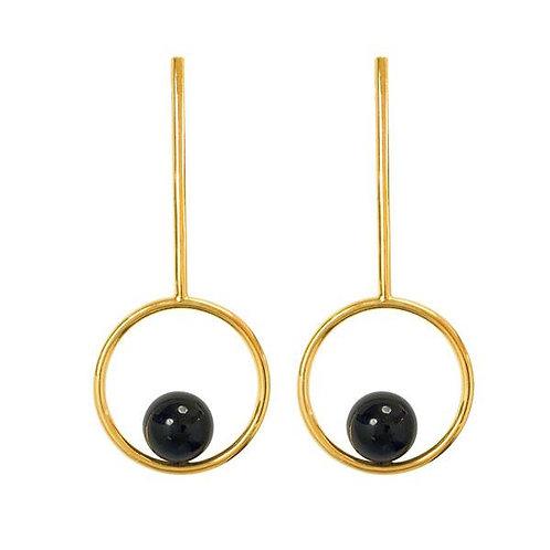 Onyx Lacrosse earrings