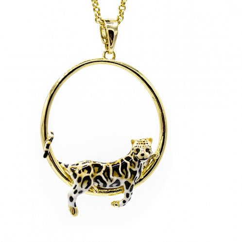 Clouded Leopard Hoop Necklace
