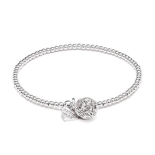 Santeenie Silver Charm Bracelet-Flower Ball