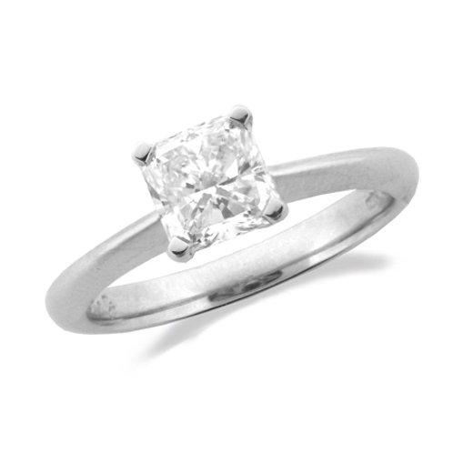 Platinum Radiant Solitaire ring