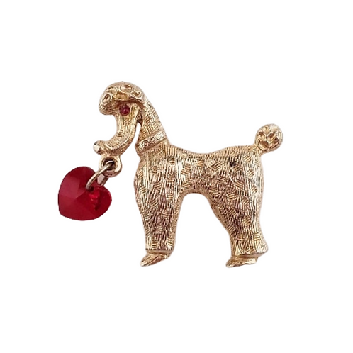 Vintage, Poodle Pin, Gold Tone with Red Heart