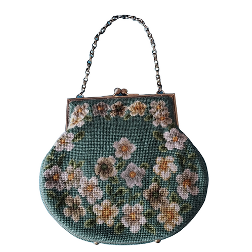 Beautiful, Vintage, Green and Gold Needlepoint Handbag, with Gold Trim