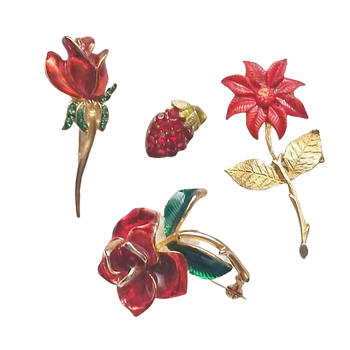 Vintage, Lot of 4, Red, Flower Pins, Brooches, Flower Power, 1970's Jewelry, Pin