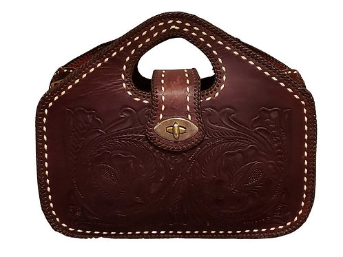 Vintage, Hand Tooled Leather, Cut Out Handle Tote Handbag, NOS