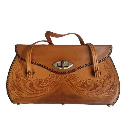 Vintage Two Tone Tooled Leather Handbag