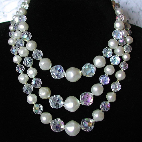Vintage Multi Strand Wedding Necklace, Beautiful, Faux Pearl & Crystal, 3 Strand
