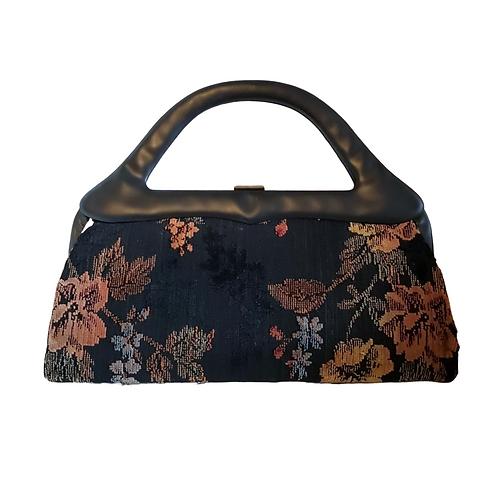 Vintage Beautiful Black Floral Tapestry Sculptural Handle Vintage Handbag