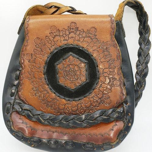 Vintage Tooled Leather, Flap, Shoulder Strap Handbag