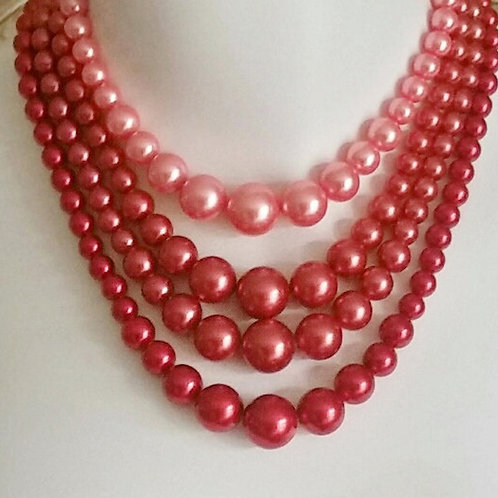 Vintage, Multi Strand Pearls Necklace, Gorgeous, Tones of Coral, Vintage, 4 Stra