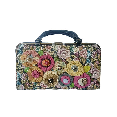 Vintage Handbag, Pretty, Floral Vintage Tapestry Fabric, Newly Embellished, Hand