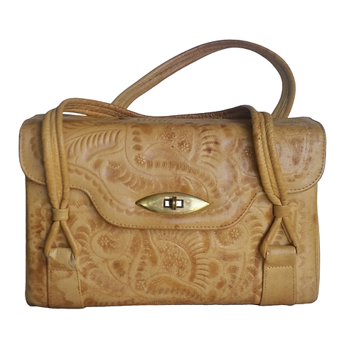 Vintage 1970's, Cool, Tooled Leather Boho-Chic Handbag, Creamy Tan Colo