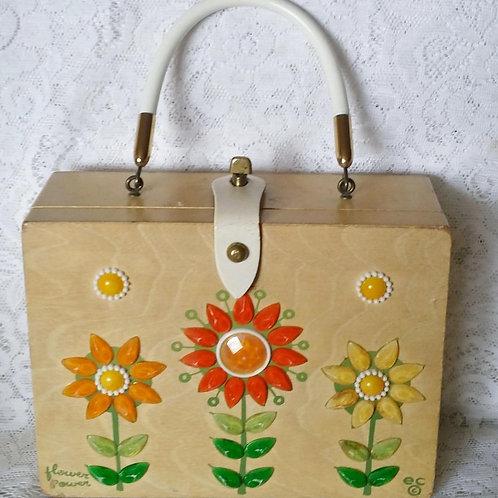 Enid Collins, Wooden Box Handbag, Flower Power, Orange, Yellow and Green Flowers