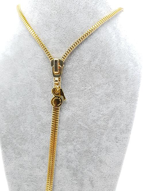 Zip Me Up, Zip Necklace- Plain Charm / Puller Gold Necklace