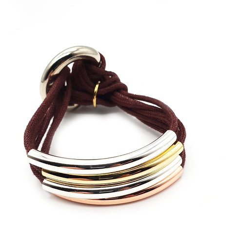 Wine Trio-Colour 4 Bar Bracelet