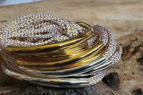 8 Bar / Tube Bracelet Gold Sparkly String W Gold & Silver Tubes
