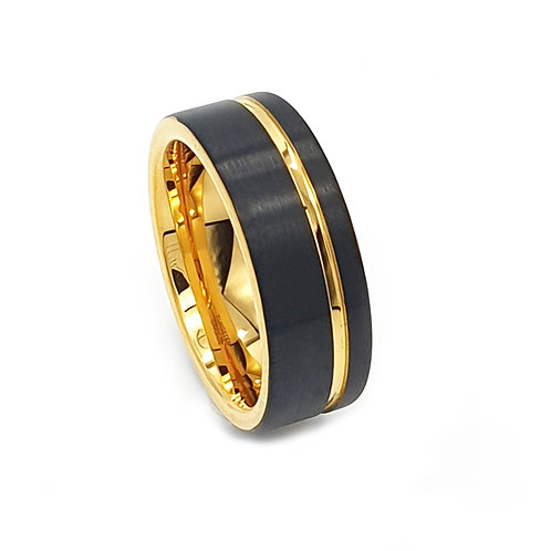 Tungsten Carbide 8mm Black And Gold Strip Mens Ring