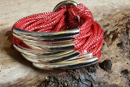 8 Bar / Tube Bracelet Red with Silver Tubes