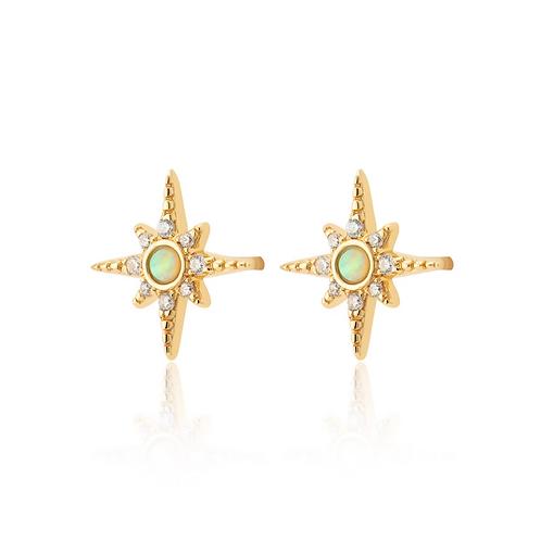 Green Opal Starburst Stud Earrings (Pair)
