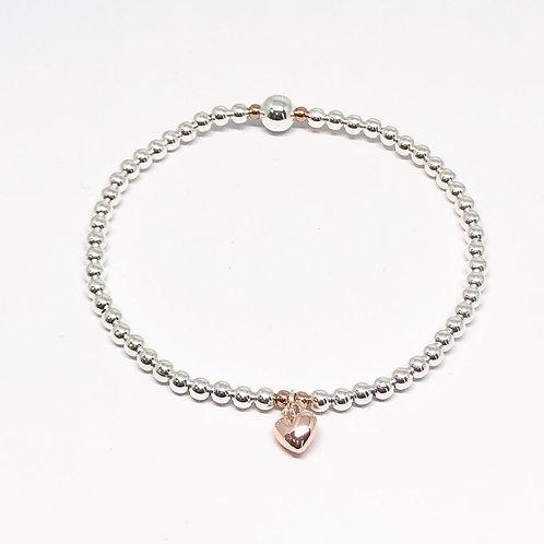 Beaded Bracelet Mini Heart - Rose Gold