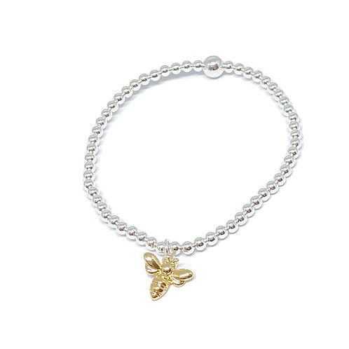 Beaded Bracelet Bee Charm -  Gold