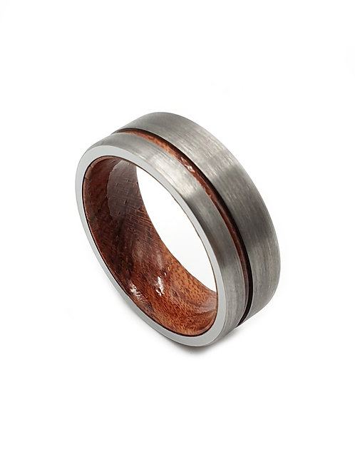 Tungsten Carbide 8mm Brushed Silver Wood Strip Mens Ring
