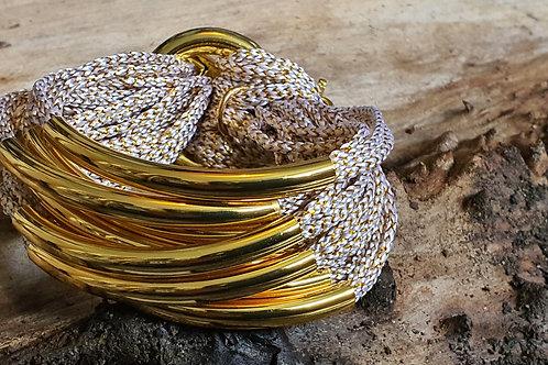 8 Bar / Tube Bracelet Gold Sparkly String W Gold Tubes