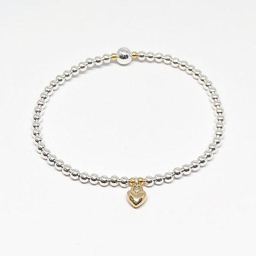 Beaded Bracelet Mini Heart - Gold
