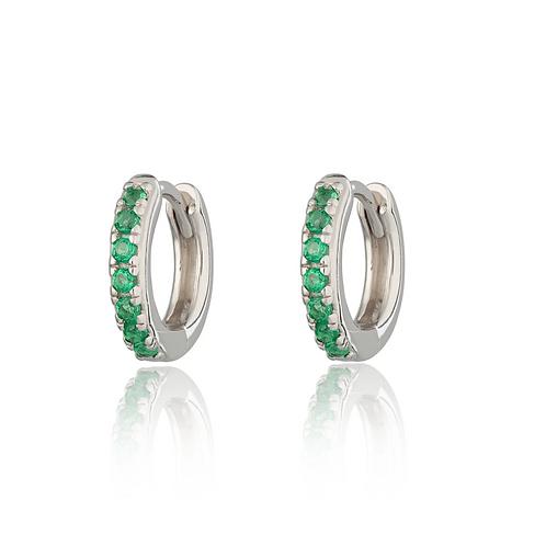 Huggie Hoop Earrings with Green Stones (Pair)