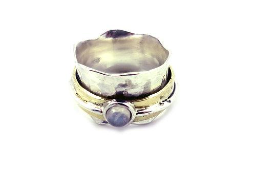 Wave Semi Precious Stone Ring - Moonstone
