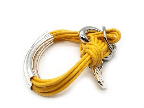 Yellow Silver 4 Bar Bracelet