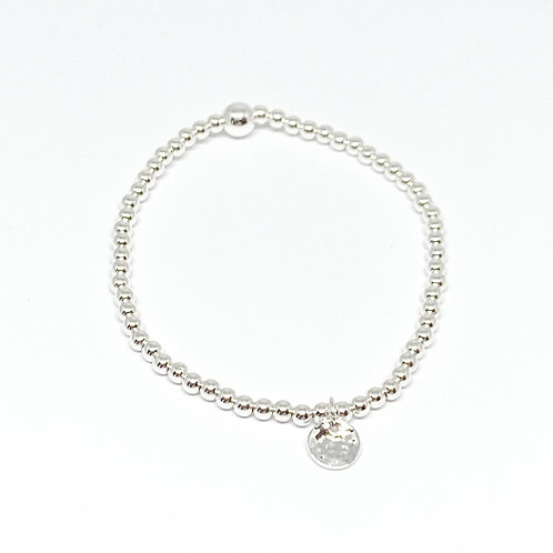 Beaded Bracelet Hammered Disc - Silver