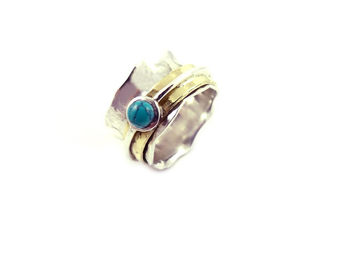Wave Semi Precious Stone Ring - Torquise