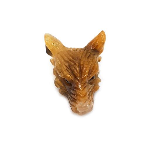 Wolf Head-Tiger Eye 30mm