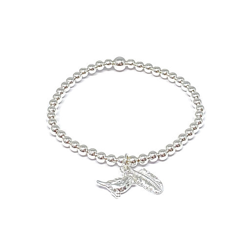 Beaded Bracelet Bird & Feather Charm -Silver & Rose Gold