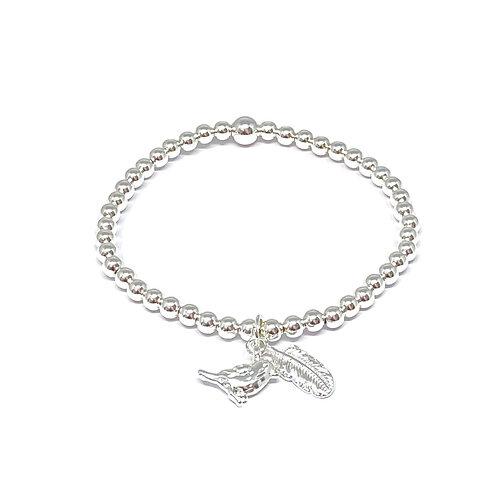 Beaded Bracelet Bird & Feather Charm -Silver & Rose Gold