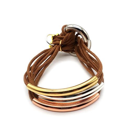 Tan Trio-Colour 4 Bar Bracelet
