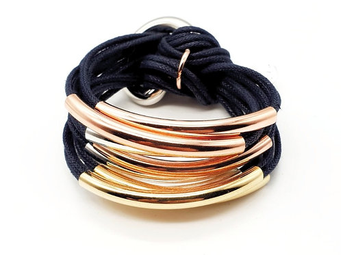 Navy Trio-Colour 8 Bar Bracelet