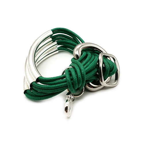 Emerald Green Silver 4 Bar Bracelet