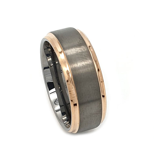 8mm Silver Brushed Tungsten Carbide & 18k Rose Gold Ring For Men