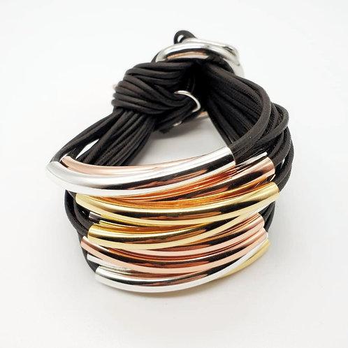 Black Trio Silver,Rose, Gold 16 Bar Bracelet