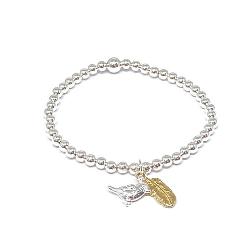 Beaded Bracelet Bird & Feather Charm -Silver & Gold