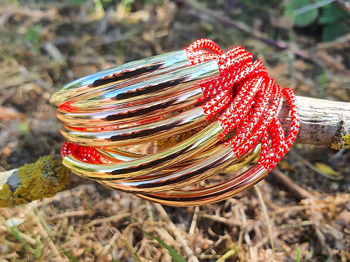 8 Bar / Tube Bracelet Red with Silver, Rose & Gold Tubes