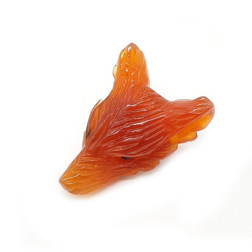 Wolf Head-Red Agate 30mm