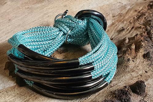 8 Bar / Tube Bracelet Turquoise with Gunmetal Tubes