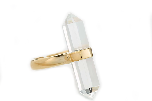 Gold Vertical Crystal Ring