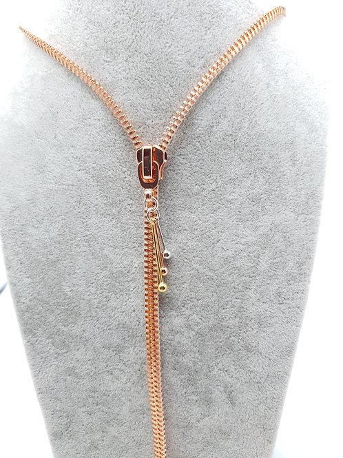 Zip Me Up - Zip Necklace, Rose Tassel Necklace