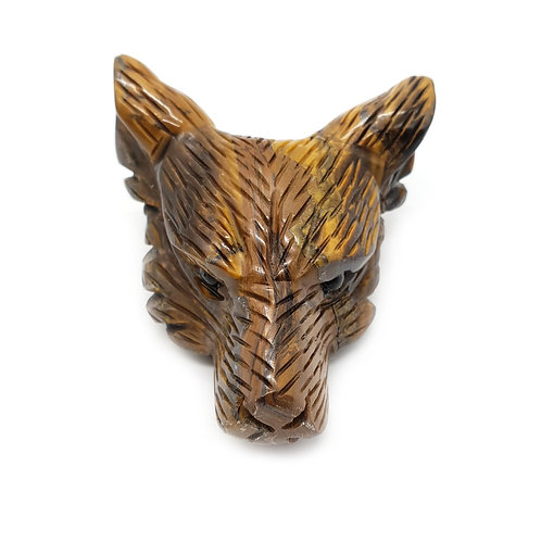 Wolf Head-Tigers Eye 50mm